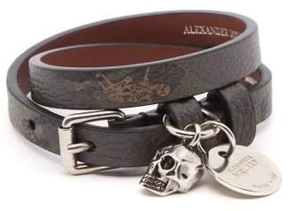 Alexander McQueen Skull Charm Double Wrap Leather Bracelet - Mens - Khaki