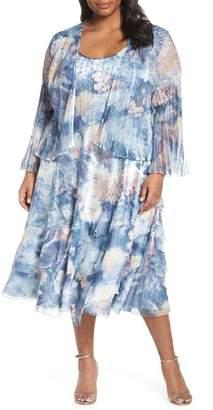 Komarov Floral Print Midi Dress & Jacket (Plus Size)