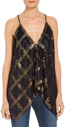 St. John Stretch Silk Georgette Handkerchief Sequined Top