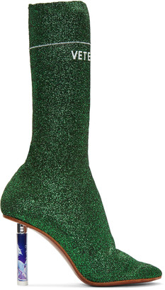 Vetements Green Metallic Logo Sock Boots $2,230 thestylecure.com
