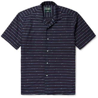 Gitman Brothers Camp-Collar Striped Slub Cotton-Blend Shirt