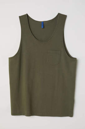 H&M Tank Top with Chest Pocket - Black - Men