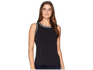 Tommy Hilfiger Sleeveless Woven Pullover Top w/ Trim Women's Sleeveless