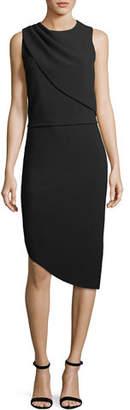 Halston Drape-Front Asymmetric-Hem Sheath Dress