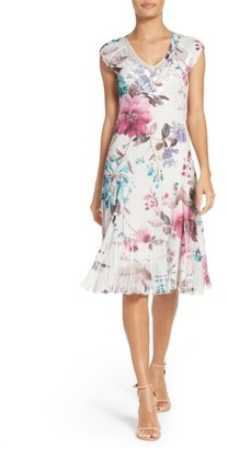 Women's Komarov Floral Print V-Neck Dress $298 thestylecure.com