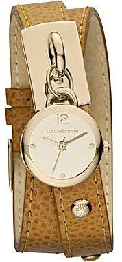 Liz Claiborne Womens Brown Leather Double-Wrap Charm Watch