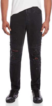 Marcelo Burlon County of Milan Black Biker Fit Distressed Jeans