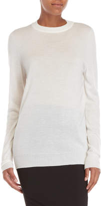 Rick Owens White Crew Neck Cashmere Sweater