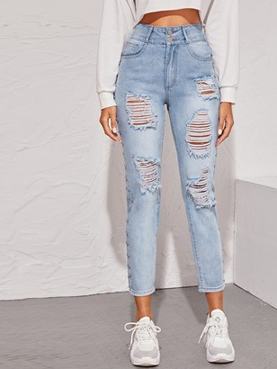 Shein Light Wash Rips & Studs Detail Jeans