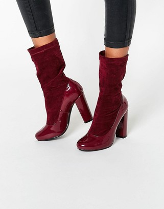 Daisy Street Burgundy Patent Sock Heeled Ankle Boots