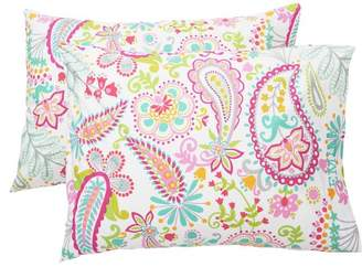 Pottery Barn Teen Swirly Paisley Pillowcases, Set of 2, Pink Multi