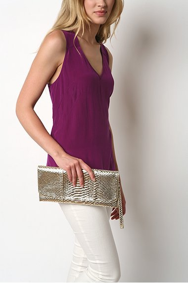 Urban Outfitters Kimchi Blue Long Croco Clutch