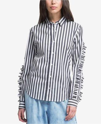 DKNY Striped Ruffle-Sleeve Shirt