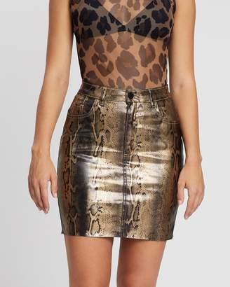 Missguided Metallic Snake Coated Denim Skirt