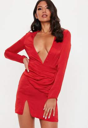Missguided Red Silky Panelled Shift Dress