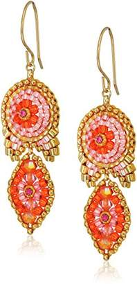 Miguel Ases Small Marquise Tail Circle Vibrant Swarovski Drop Earrings