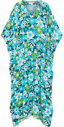 Michael Kors Collection - Floral-print Silk-crepe Kaftan - Turquoise $1,850 thestylecure.com