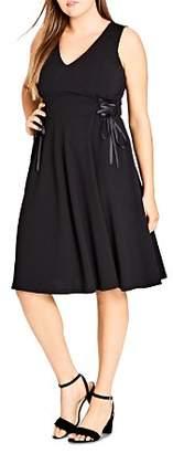 City Chic Plus Sleeveless Lace-Up Dress