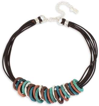 Robert Lee Morris Soho Ombre Patina Ring Frontal Leather Necklace