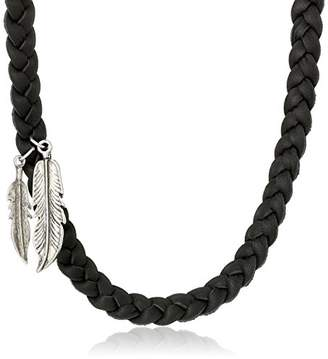 Ettika Men's Black Braided Deerskin Bracelet with Colored Feather Pendant Necklace s