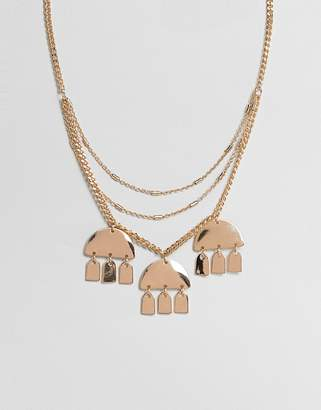Asos Design DESIGN multirow necklace with geo shape charms in gold