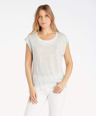 Vince Camuto Women's Extend Shoulder Colorblocked Linen Tee In Color: Sea Salt Size XS From Sole Society