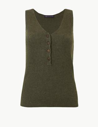 Marks and Spencer Linen Blend Textured V-Neck Knitted Tops
