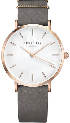 Rosegold WEGR-W75 33MM West Village MOP Dial Grey Suede