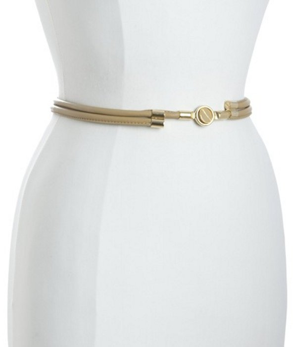 Balenciaga ivory leather double rolled clasp belt