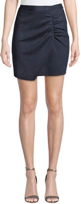 BCBGeneration Shirred Faux-Suede Wrap Pencil Skirt