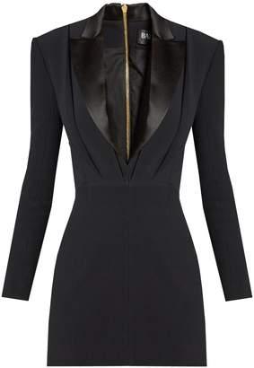BALMAIN Satin-lapel mini tuxedo dress
