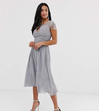 Little Mistress Petite short sleeve midi skater dress