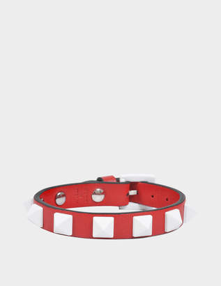 Valentino Free Rockstud Small Bracelet in Red Nappa Leather