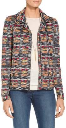 St. John Painterly Multi Tweed Knit Jacket