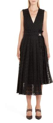 Fendi Asymmetrical Embroidered Organza Lace Dress