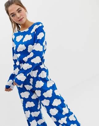 Asos DESIGN mix & match cloud pyjama long sleeve jersey tshirt