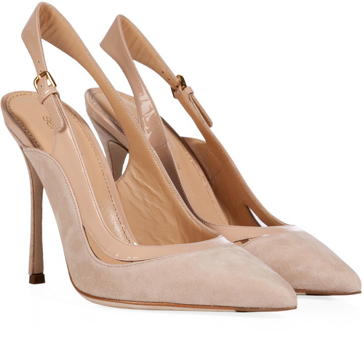 Sergio Rossi Suede/Patent Pointed Toe Slingbacks