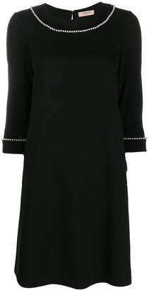 Twin-Set pearl detail shift dress