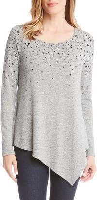 Karen Kane Star Print Asymmetrical Hem Sweater