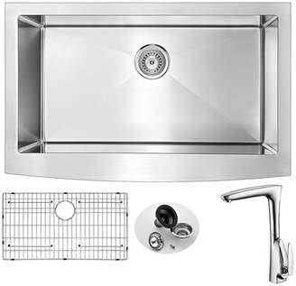 """ANZZI Elysian 33"""" L x 21"""" W Farmhouse Kitchen Sink with Faucet ANZZI"""
