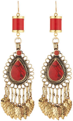 Devon Leigh Coral Chandelier Earrings