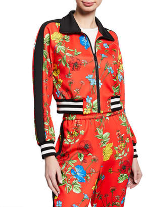 Alice + Olivia Jackson Floral-Print Raglan-Sleeve Cropped Track Jacket