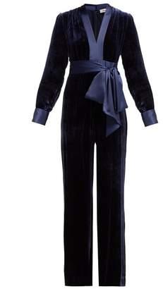 Diane von Furstenberg Claude Satin Trimmed Velvet Jumpsuit - Womens - Navy