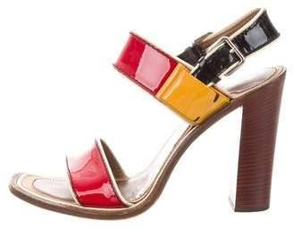 Prada Patent Leather Tri-Color Sandals