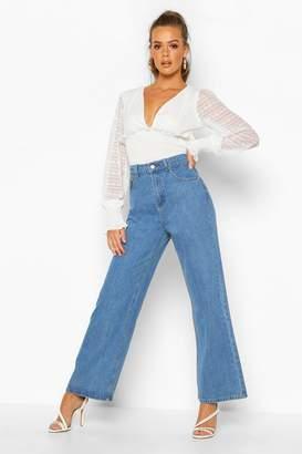 boohoo High Rise Stonewashed Rigid Wide Leg Jeans