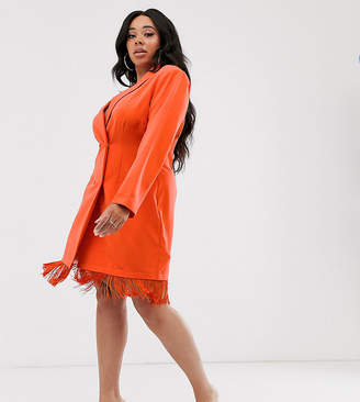 Saint Genies Plus blazer dress with fringe hem detail in orange