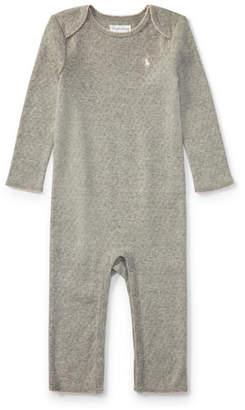 Ralph Lauren Pointelle Cotton Coverall, Gray, Size Newborn-9 Months