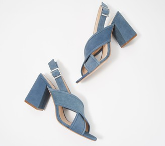 Sole Society Suede Block Heel Cross-Strap Sandals- Joree