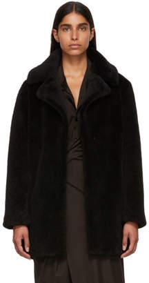 Yves Salomon Meteo Black Curly Sheep Coat