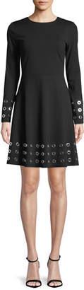 MICHAEL Michael Kors Grommet-Trim Flare Dress